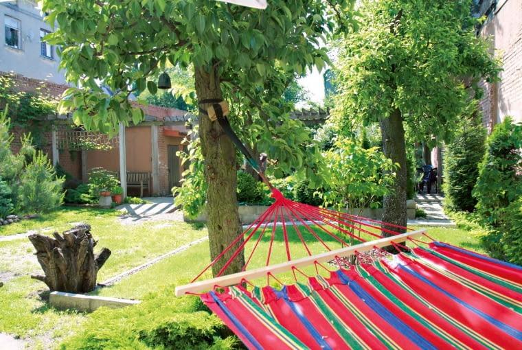 Do nowej aranżacji włączone zostały dwa stare drzewa owocowe - dzięki temu latem jest gdzie rozwiesić hamak.
