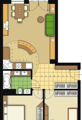 Propozycja 2. Aneks kuchenny, urządzony w przestrzeni pokoju dziennego, ma kształt wycinka koła. Podkreśla go zarówno sposób ułożenia posadzki, jak i forma podwieszanego sufitu z lampami zainstalowanymi na jego obrzeżu. Część kuchenną od wypoczynkowej oddziela barek zbudowany na planie koła.
