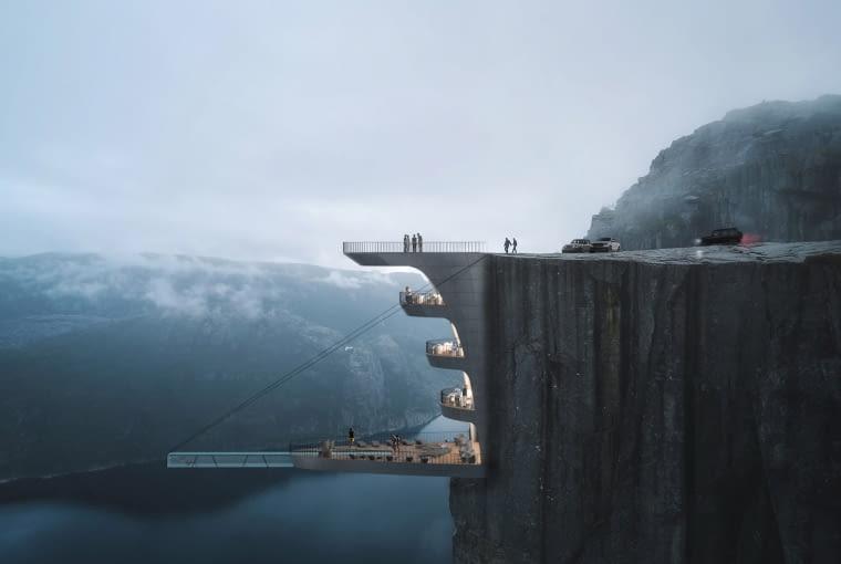 Hotel na klifie Preikestolen. Proj. Hayri Atak Architectural Design Studio.