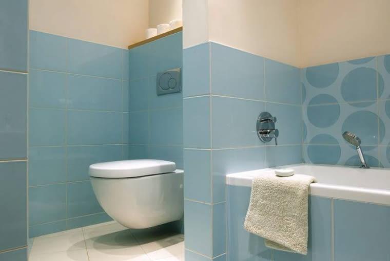 Na podwyższeniu<br/> Na etapie projektu w mieszkaniu były dwa pomieszczenia sanitarne: łazienka i osobna toaleta. Gospodarze postanowili je połączyć, wyburzając prawie całą ścianę. Sedes (podwieszany) został zainstalowany w przewidzianym na niego miejscu, natomiast tam, gdzie miała być umywalka, powstała kabina prysznicowa - było to możliwe po zlikwidowaniu drzwi wiodących przedtem z przedpokoju do toalety.