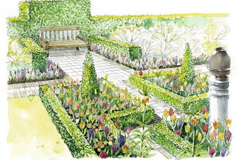 Wiosną rabaty geometryczne mogą zdobić rośliny sezonowe: begonie, żeniszki, pelargonie