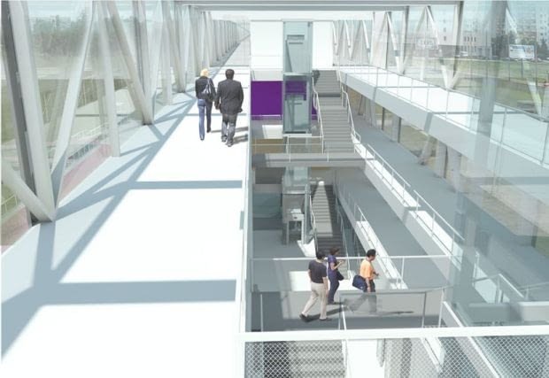 Główne foyer nawiązujące charakterem do kładki