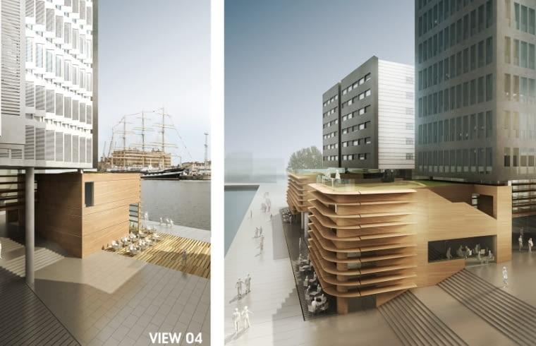 Wizualizacja projektu Gdynia Waterfront. Widok od strony wewnętrznego placu (View 04) oraz od strony Sea Towers (View 05)