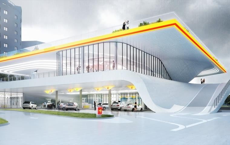 Stacja benzynowa, Warszawa, Polska, proj. KAMJZ, nominacja w kategorii projekty, infrastruktura. Stacje benzynowe zwykle projektowane są w postaci zwykłych, prostych pawilonów, często niedopasowanych do lokalnego kontekstu. Warszawski projekt to kolejny dowód na to, że wystarczy zmienić sposób myślenia i podejście do projektowania, aby nawet taki obiekt jak stacja benzynowa też może być dobrą architekturą.