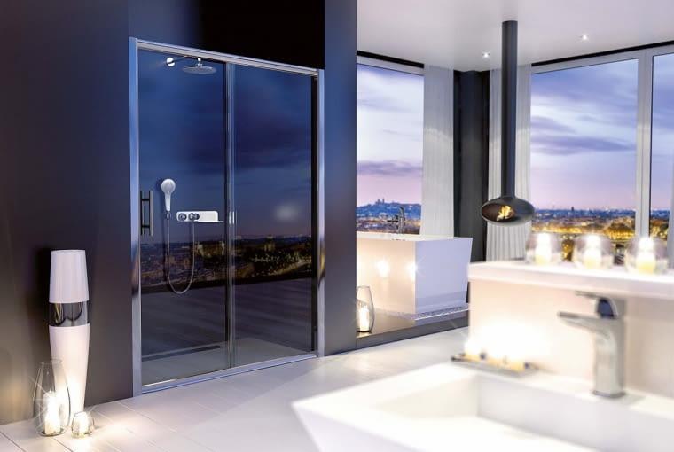 Cynia/DEANTE | Drzwi przesuwne odwracalne | wys. 200 cm, bezpieczne szkło hartowane 6 mm transparentne. Cena: 899-1199 zł, www.deante.pl