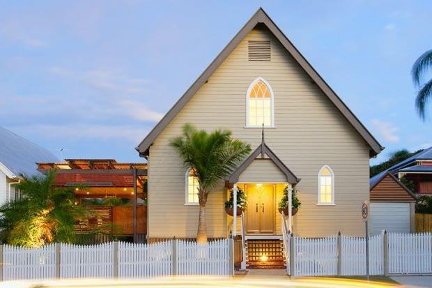 kościół, dom, Brisbane