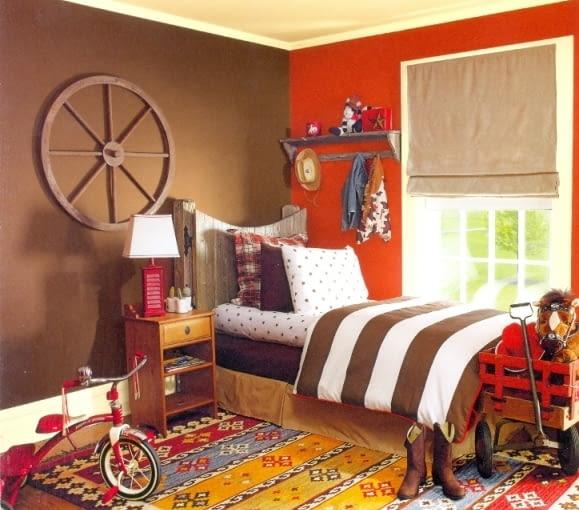 Farby do wnętrz. Kolory ścian. Pokój dziecinny dla małego kowboja
