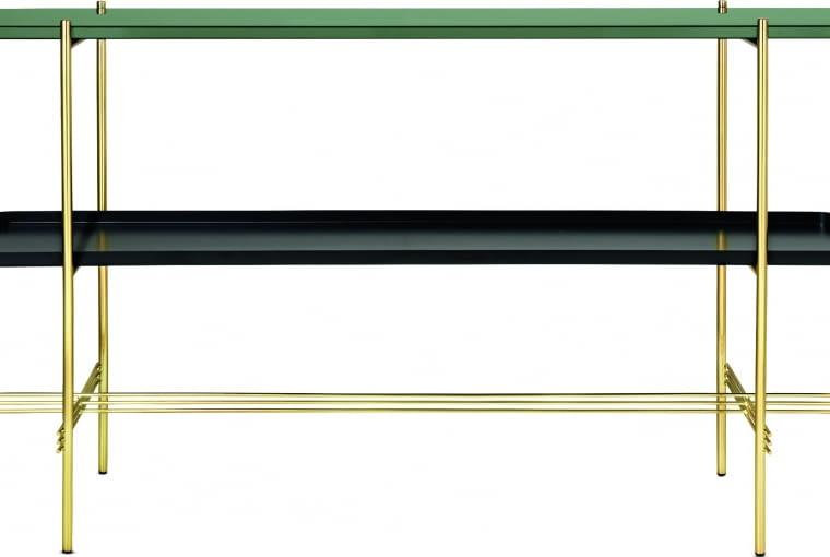Ts console 2 Zaprojektowana przez duńsko-włoski duet. Łączy skandynawską prostotę i włoską fantazję. Konstrukcja z mosiądzu, blat z zielonego marmuru, półka z malowanej na czarno stali. 5149 zł, Gubi/Scandinavian Living
