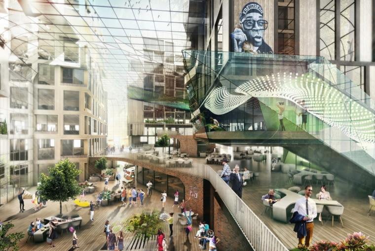 Eckwerk Holzmarkt, Berlin, Niemcy, proj. GRAFT i Kleihues + Kleihues, nominacja w kategorii projekty, budynki komercyjne funkcja mieszana.