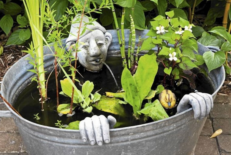 Small pond in recycled galvanised bath SLOWA KLUCZOWE: summer june july Closeup Water Ponds Aquatic vintage recycling metal statue spouts childrens gardens unusual quirky