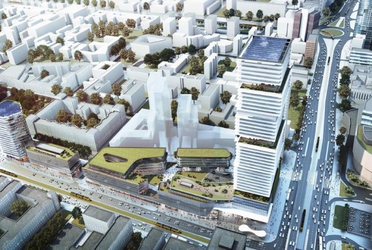 Wizualizacja inwestycji Centralna Park, która ma powstać u zbiegu Al. Jerozolimskich i al. Jana Pawła II