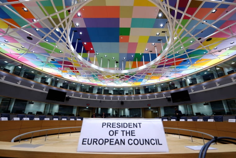 A view shows EU Council President's seat at a meeting room in Europa, the new European Council building in Brussels, Belgium December 9, 2016. Building: Philippe Samyn and Partners architects & engineers, lead and design partner, Studio Valle Progettazioni architects, BuroHappold engineers; colour compositions by Georges Meurant. REUTERS/Yves Herman
