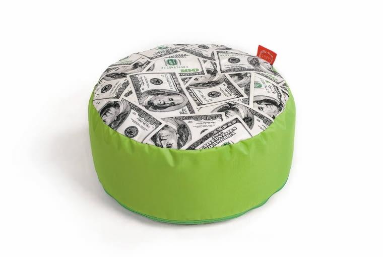 Puf Dolar, śr. 50 cm, wys. 20 cm, poliester, labal.com.pl, 99 zł