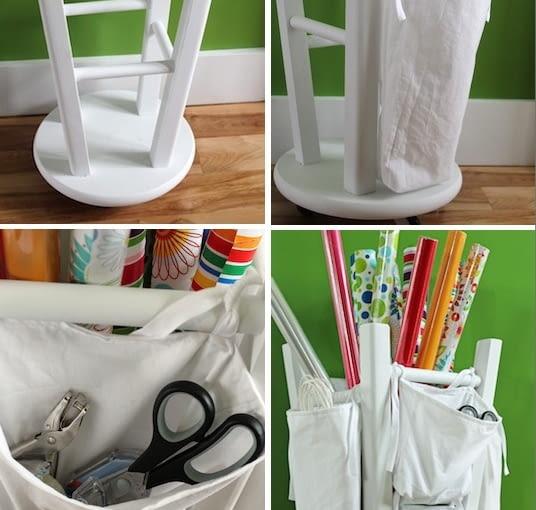Stare krzesło kuchenne odwrócone do góry nogami może służyć jako stojak na papier i parasole. Po przymocowaniu do nóg organizerów z tkaniny zyskasz dodatkowe miejsce przechowywania.
