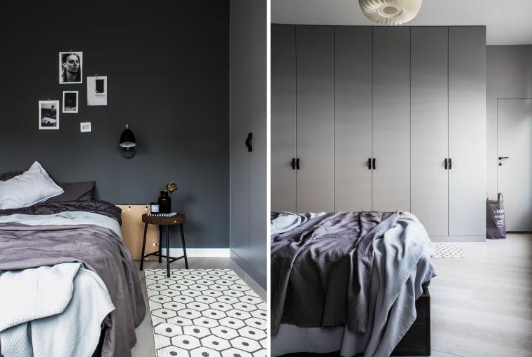 Zamiast oddzielnego pomieszczenia na garderobę, właściciele zdecydowali się na pojemną szafę wtopiona w ścianę. Ciemnobrązowe skórzane uchwyty przy szafach są dziełem Moniki, która postanowiła wykonać je samodzielnie.