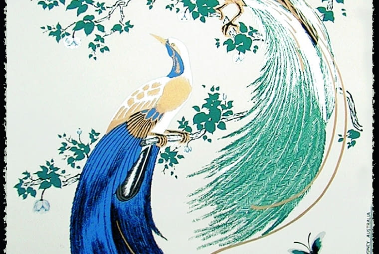 Oryginalna grafika na czerpanym papierze z często występującym w twórczości Florence motywem pawi.