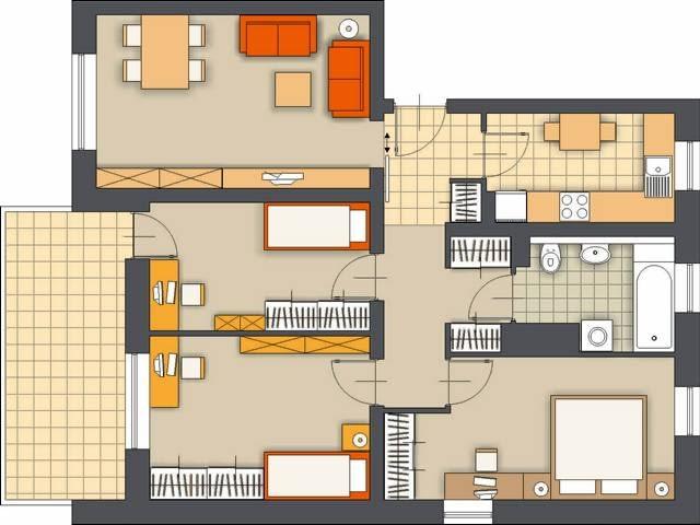 Propozycja 1. Układ pomieszczeń w mieszkaniu nie został zmieniony. Dla dzieci proponuję przeznaczyć dwa mniejsze pokoje. Z jednym z nich sąsiaduje pokój dzienny (przejście między pomieszczeniami zostało zamurowane). W wejściu do niego najlepiej zamontować drzwi przesuwane.
