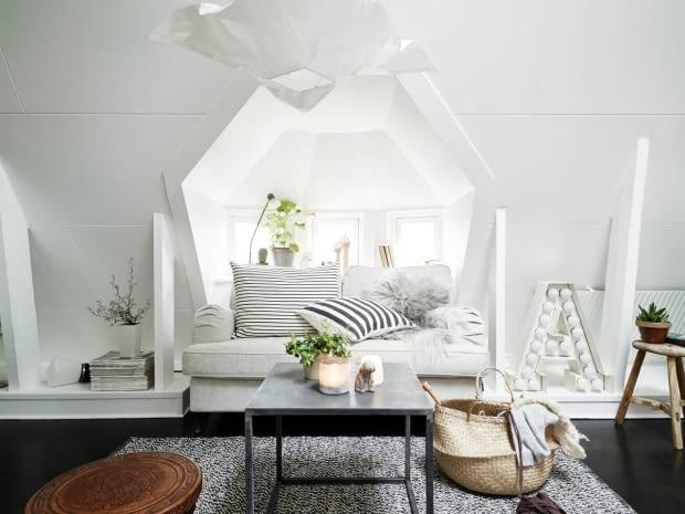 kawalerka, małe mieszkanie, mieszkanie na poddaszu, skandynawski styl