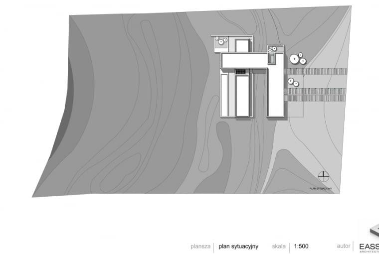 Betonowy dom w Muchocinie pod Poznaniem - sytuacja