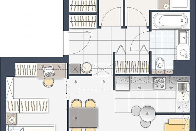 Aneks kuchenny jest przesłonięty ścianką, przy której stoi stolik śniadaniowy. Państwa sypialnię powiększyłem o dawne w.c. i podzieliłem na dwie strefy pełniące odrębne funkcje.