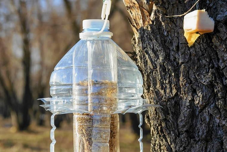 BAR DLA PTAKÓW Z DUŻYCH BANIAKÓW po wodzie mineralnej można zrobić stołówkę dla ptaków. Trzeba tylko wyciąć otwór w butelce, przez który będą się częstować ziarnem. W wycięciach można umocować żerdki z patyczków, na których ptaki będą mogły przysiąść.