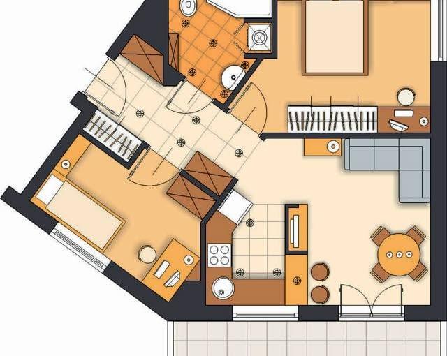 Projekt 2. Oprócz przeniesienia kuchni do pokoju dziennego proponuję niewielkie korekty w układzie ścian. Dzięki nim w przedpokoju da się wygospodarować miejsce na dodatkową szafę, a nietypowe wejście do sypialni rodziców pozwoli lepiej wykorzystać jej przestrzeń i zaplanować kameralny kącik do pracy.
