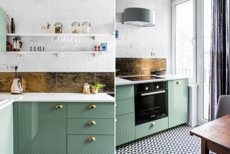 Złote dekory na ścianie w kuchni
