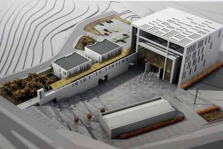 Gdańsk, Archikatedra Oliwska. Rozstrzygnięcie konkursu architektonicznego na projekt kościoła pod wezwaniem błogosławionego Jana Pawła II. Nz. zwycięski projekt.