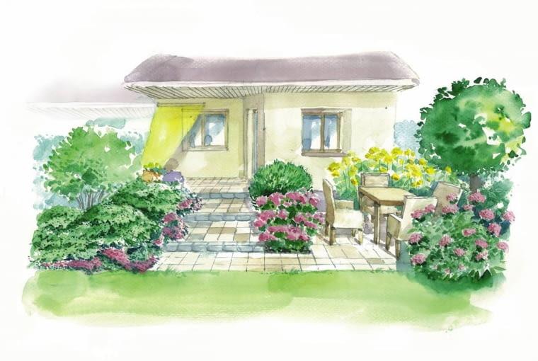Projekt ogrodu z dwoma tarasami