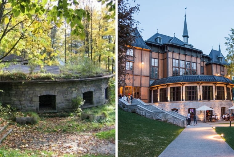 Dworek Gościnny w Szczawnicy. Z lewej - pozostałości starego obiektu. Z prawej - budynek po odbudowie.