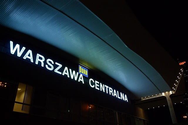 warszawa, dworzec, centralny, neon