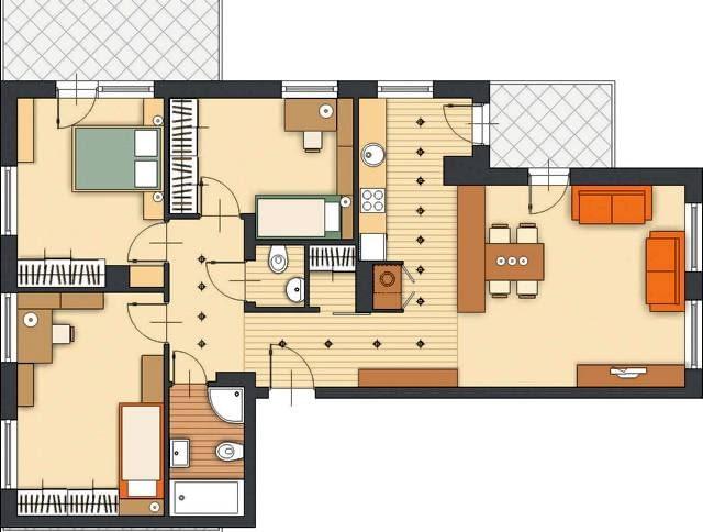 Projektowanie. Propozycja 1. Planowany układ pomieszczeń pozwala na podzielenie mieszkania na dwie części. W jednej znajduje się wspólna część dzienna z otwartą kuchnią i pokojem, a w drugiej - Państwa sypialnia, dwa pokoje dzieci oraz łazienka. Łącznikiem między tymi strefami jest przedpokój z garderobą i toaletą.