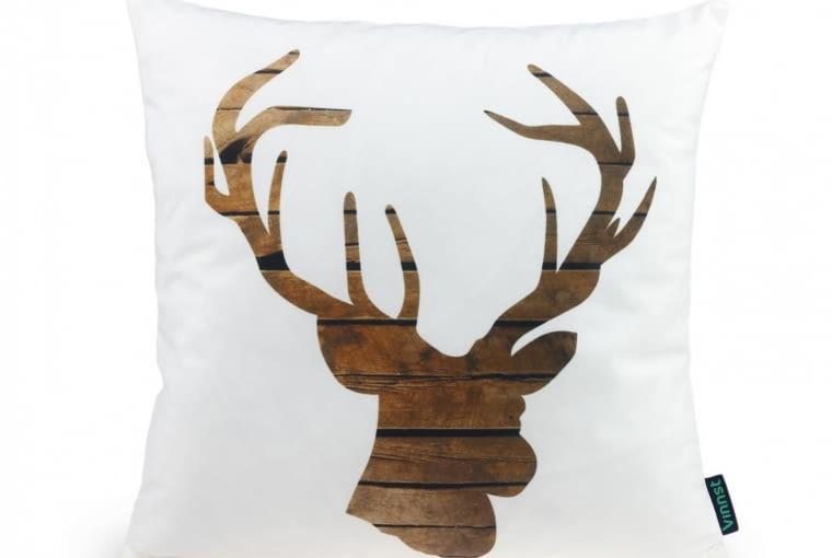 Poduszka drewniany jeleń, mikrowłókno, 40 x 40 cm, vinnst.pl