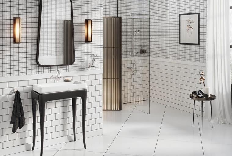 Mozaika na ścianie w łazience
