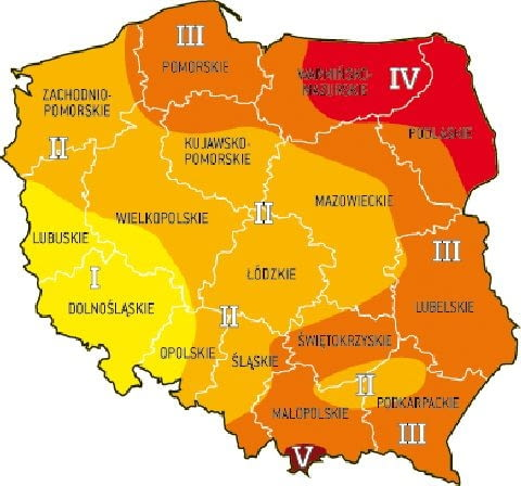 Mapa podziału Polski na strefy obciążenia śniegiem.