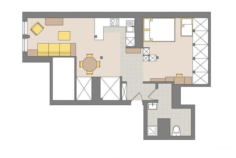 Plan mieszkania: 56 m kw.