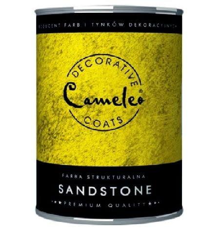 Farba strukturalna Sandstone firmy CAMELEO; efekt: faktura piasku; kolor: barwienie wybranym pigmentem przed malowaniem; cena: 49,99 zł/950 ml
