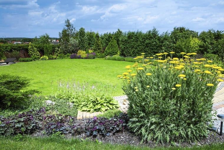 Główną część ogrodu założono na planie koła otoczonego pasem kwitnących roślin, posadzonych na niewielkim podwyższeniu