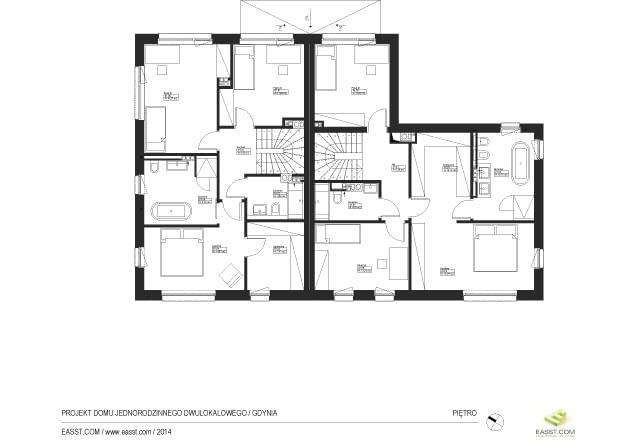 Dom dwurodzinny w Gdyni z podziemną halą garażową - rzut piętra