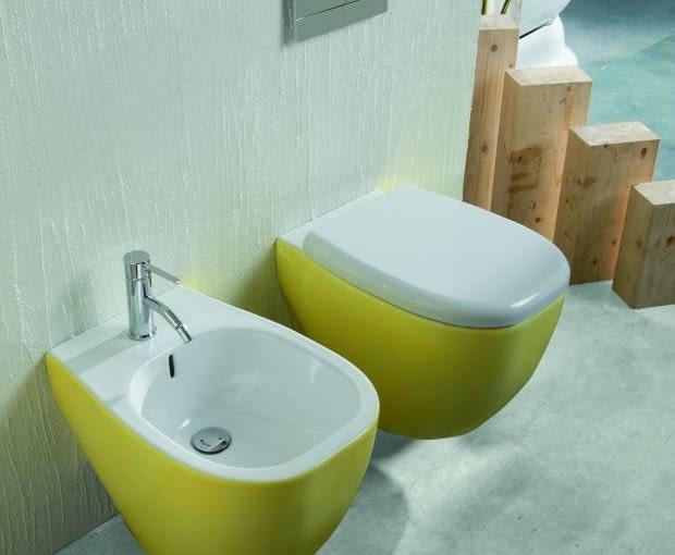 kolorowa ceramika łazienkowa, łazienka, miska w.c., bidet