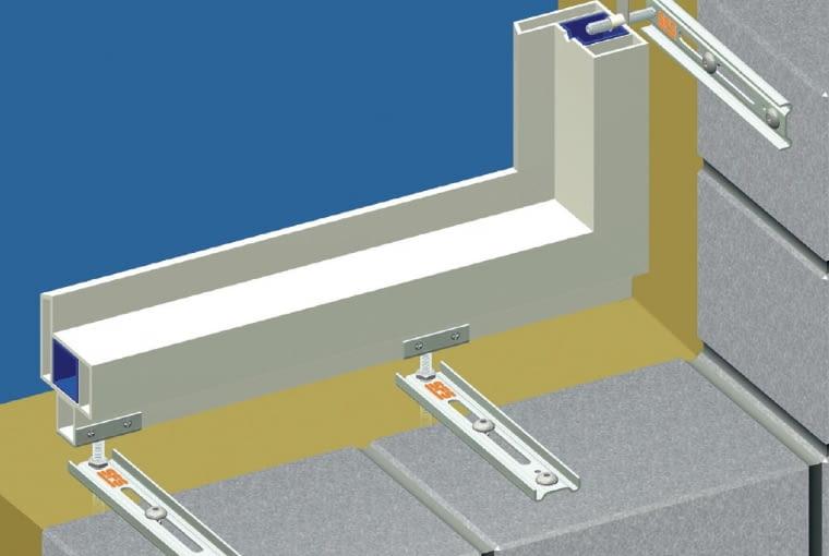Konsole dolne i wsporniki boczne do mocowania okien w grubości ocieplenia, mocowane bezpośrednio do ościeża; do korekty położenia okna służą specjalne śruby