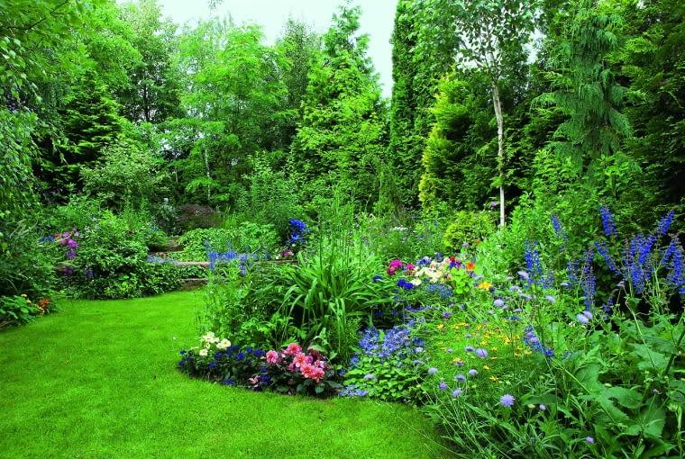 Kolejne ogrodowe plany zostały oddzielone grupami wysokich kwitnących bylin.