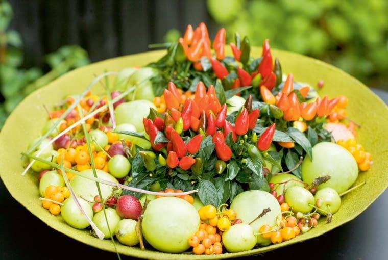 JESIENNY 'TORT' z owoców miniaturowych papryczek (Capsicum), żółtej jarzębiny (Sorbus) i jabłek.