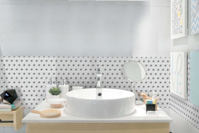 RInterior of bathroom with sink basin faucet and mirror. Modern design of bathroom.