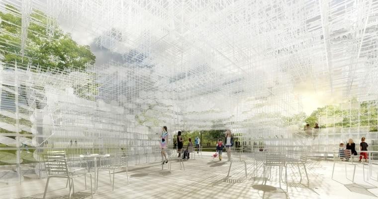 Londyński pawilon Serpentine Gallery zaprojektowany w 2013 przez Sou Fujimoto.