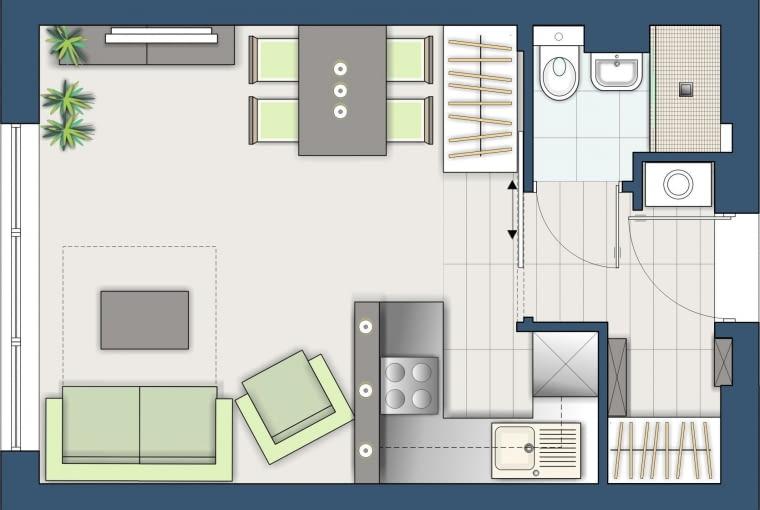 Kuchnia została nieco przesunięta i połączona z pokojem. Tuż przy wejściu do mieszkania zaprojektowałam obszerną szafę; druga zmieściła się przy kącie jadalnym.