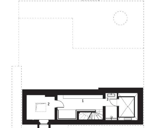 Rzut piwnicy: 1. przedsionek 12,3m2; 2. kotłownia i pralnia 9,4m2; 3. przedsionek sauny 4,3m2; 4. sauna 4,1m2