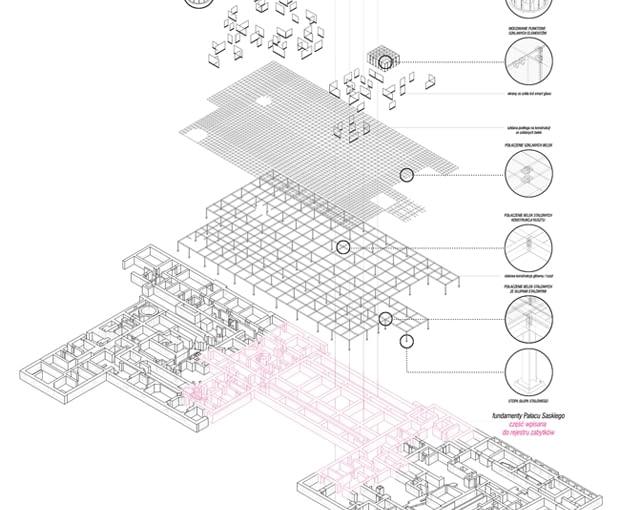 Adaptacja Podziemi Pałacu Saskiego na siedzibę Muzeum Utraconego - schemat