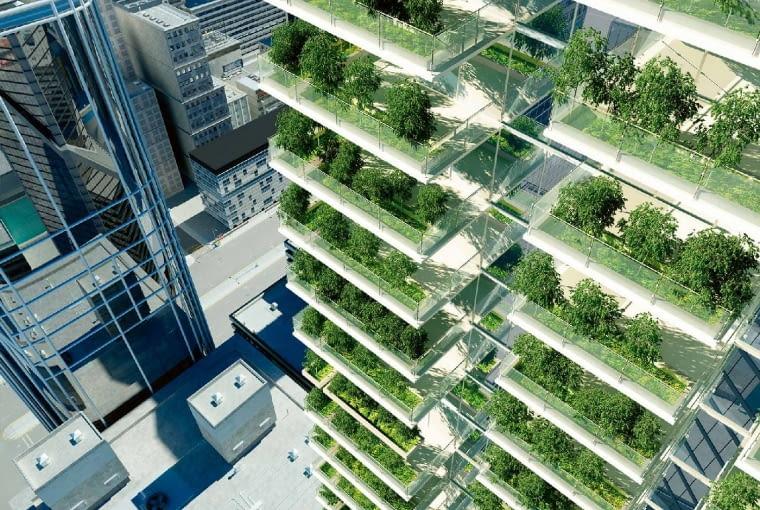 By pozyskać tlen, w wielu nowoczesnych azjatyckich miastach drzewa sadzi się na uzbrojonych w wodę tarasach podniebnych wieżowców.