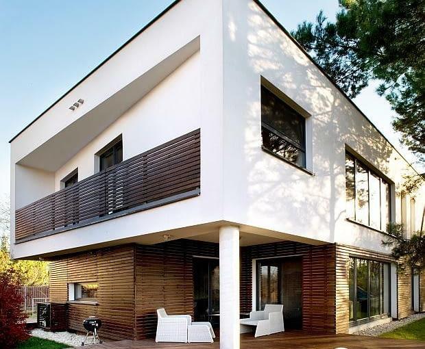 nowoczesny dom, realizacje domów, taras, elewacja z tynku